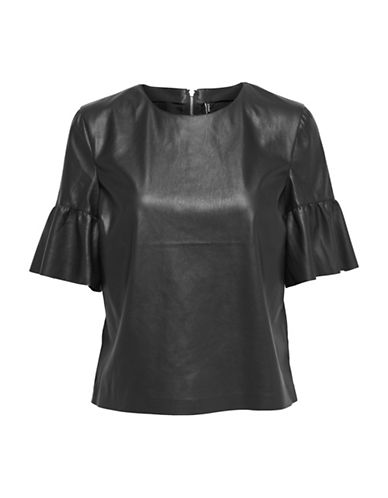 Only Ruffled Cuff Top-BLACK-36