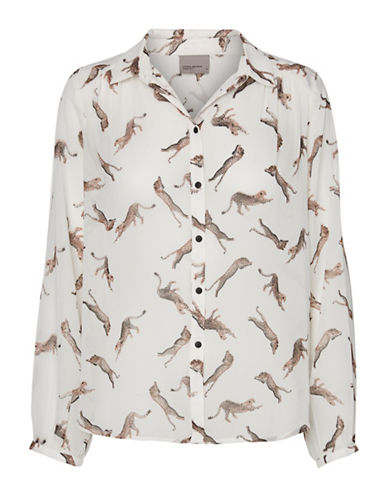 Vero Moda Printed Long Sleeve Shirt-WHITE MULTI-Large