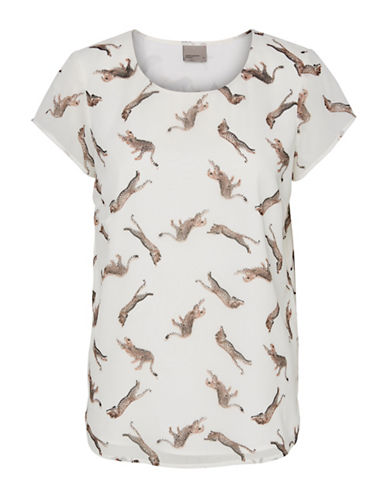 Vero Moda Round neck Short Sleeve Tee-WHITE MULTI-Large