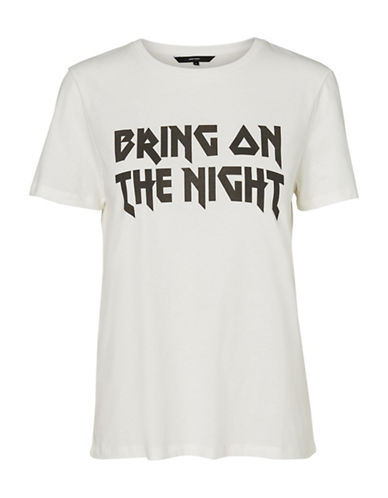 Vero Moda Elli Bring On The Night Tee-WHITE-Large