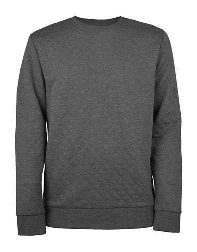 Only And Sons Quilted Crew Neck Sweater-GREY-X-Large