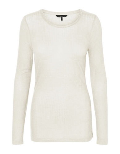 Vero Moda Round Neck Long Sleeve Top-WHITE-Large
