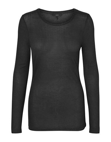Vero Moda Round Neck Long Sleeve Top-BLACK-Medium