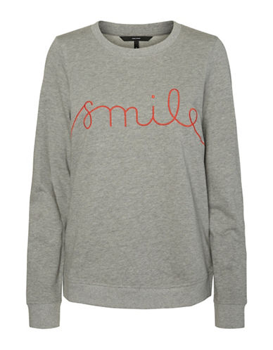 Vero Moda Embroidered Cotton Sweatshirt-GREY-Medium