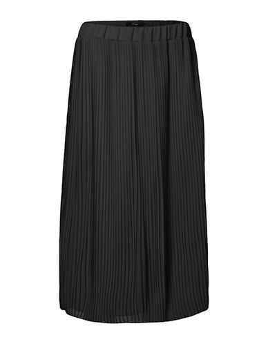 Vero Moda Pleated Floor-Length Skirt-BLACK-Medium