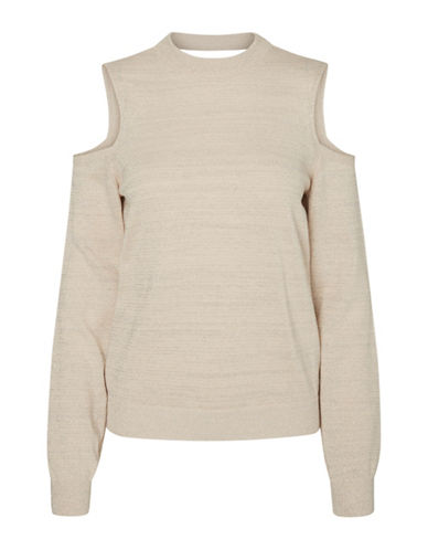 Noisy May Calli Cold Shoulder Knit Top-CREAM TAN-X-Small