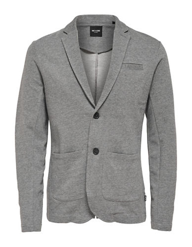 Only And Sons Cotton Jersey Blazer-GREY-XX-Large