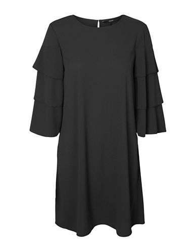 Vero Moda Bea Tiered Sleeve Dress-BLACK-Large
