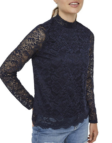 Vero Moda Freja Lace Top-BLUE-Large