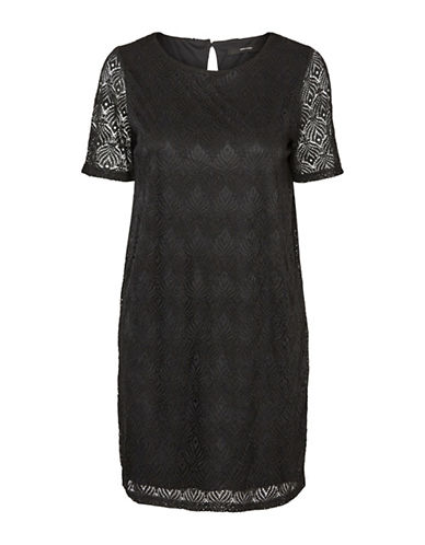 Vero Moda Lace Shift Dress-BLACK-X-Small