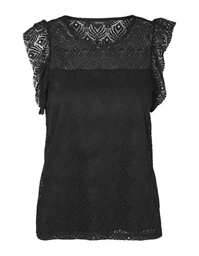 Vero Moda Majse Lace Blouse-BLACK-Small