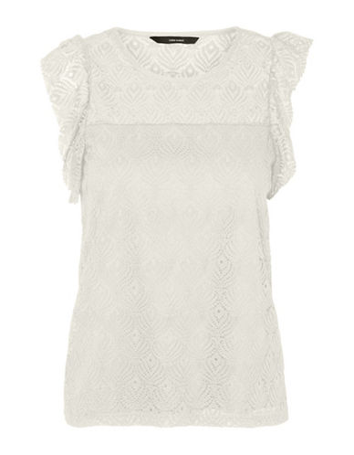 Vero Moda Majse Lace Blouse-WHITE-Medium