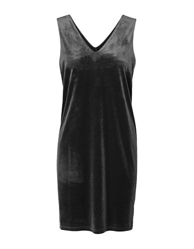 Vero Moda Agnes Velvet Mini Dress-BLACK-Medium