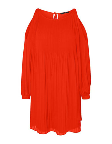Vero Moda View Cold Shoulder Dress-RED-Small