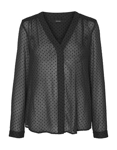 Vero Moda Polka Dot Button-Down Shirt-BLACK-X-Small