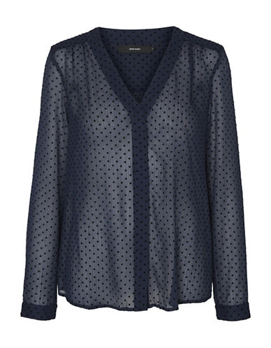 Vero Moda Polka Dot Button-Down Shirt-BLUE-Small
