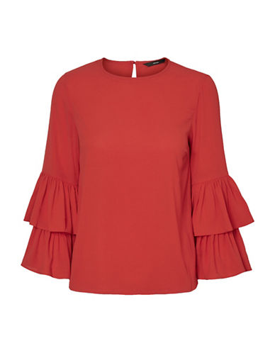 Vero Moda Dellie Blouse-RED-Medium