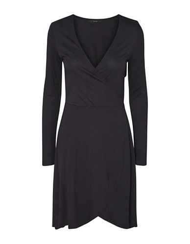 Vero Moda Jemia Wrap Dress-BLACK-Large