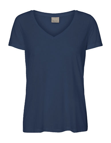 Vero Moda Joy Spicy V-Neck Top-BLUE-Medium