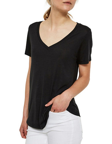 Vero Moda Joy Spicy V-Neck Top-BLACK-X-Small 89505497_BLACK_X-Small