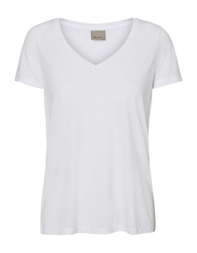 Vero Moda Joy Spicy V-Neck Top-WHITE-Large
