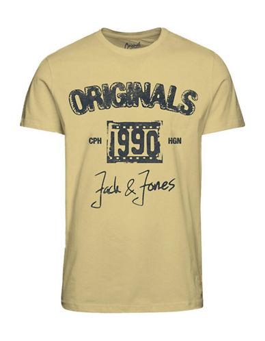 Jack & Jones Printed Cotton T-Shirt-YELLOW-Small