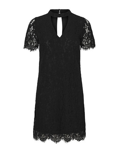 Vero Moda Elvira Lace Cotton Choker Dress-BLACK-Large