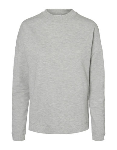 Noisy May Lucky Cotton Sweatshirt-LIGHT GREY-X-Small