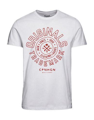 Jack & Jones Printed Cotton T-Shirt-WHITE-X-Large