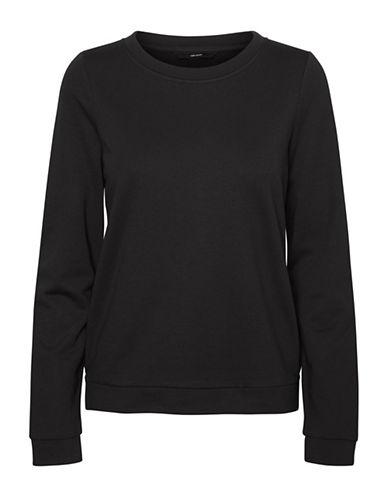 Vero Moda Sweda Crew Neck Sweatshirt-BLACK-Small