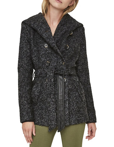 Vero Moda Faux Leather Belted Coat-GREY-X-Small