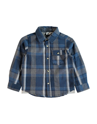 Name It Plaid Shirt with Elbow Patches-BLUE-2
