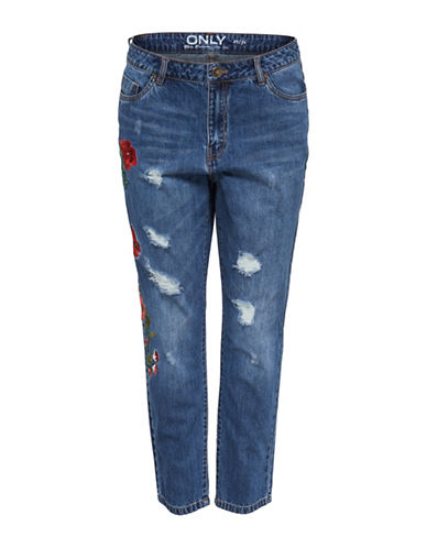 Only Floral Embroidery Boyfriend Jeans-DARK BLUE-27 32