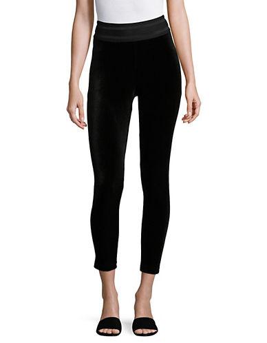 Only Velvet Ankle Leggings-BLACK-X-Small