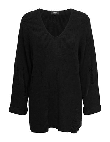 Only Distressed V-Neck Sweater-BLACK-X-Small