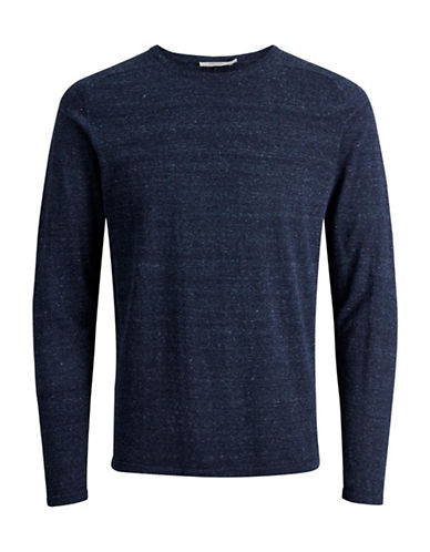 Jack And Jones Premium Speckled Knit Sweater-BLUE-Medium