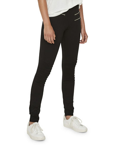 Vero Moda Storm Slim-Fit Zip Leggings-BLACK-Medium