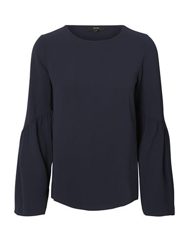 Vero Moda Round Neck Flare-Sleeve Top-BLUE-Medium