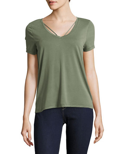 Only Miley Strappy V-Neck T-Shirt-AGAVE GREEN-Small