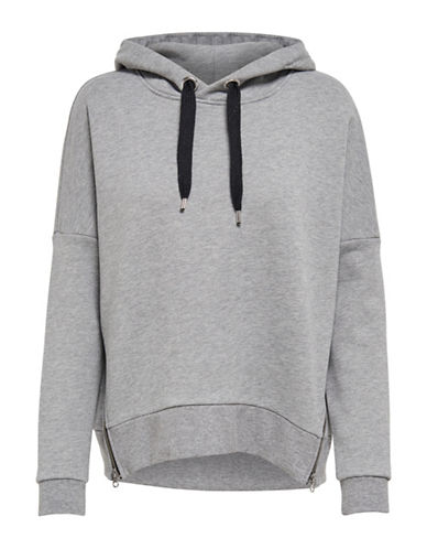 Only Double Zippered Hooded Sweatshirt-LIGHT GREY-Large