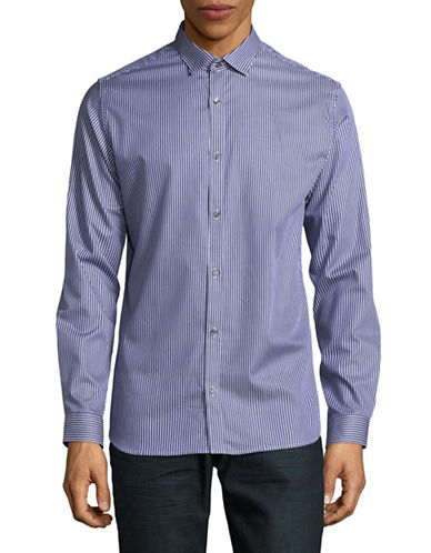 Jack And Jones Premium Vertical Stripe Sport Shirt-BLUE-XX-Large