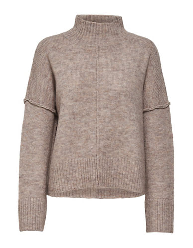 Only Wool-Blend Turtleneck Sweater-BEIGE-Medium
