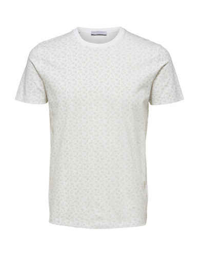 Selected Homme Vine-Print Short-Sleeve Cotton Tee-WHITE-Large