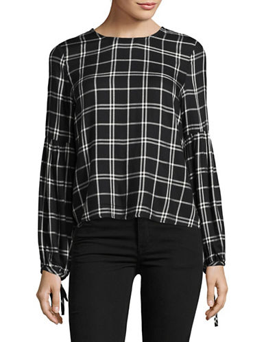 Only Woven Check Top-BLACK-40