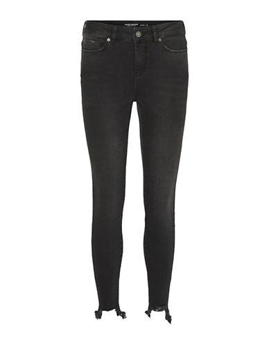 Vero Moda Seven Frayed Hem Ankle Jeans-BLACK-29