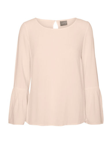 Vero Moda Round Neck Long Bell Sleeve Top-PEACH WHIP-Small