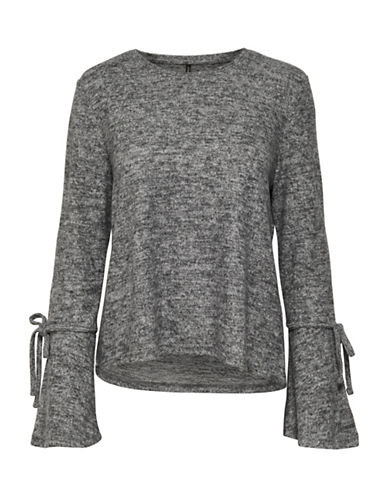 Only Heathered Bell-Sleeve Pullover-GREY-Small
