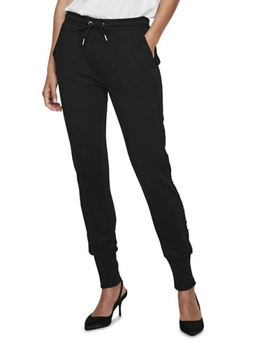 Vero Moda Maida Cotton Sweatpants-BLACK-Medium