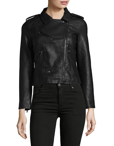 Only onlKicked Cropped Faux Leather Jacket-BLACK-38