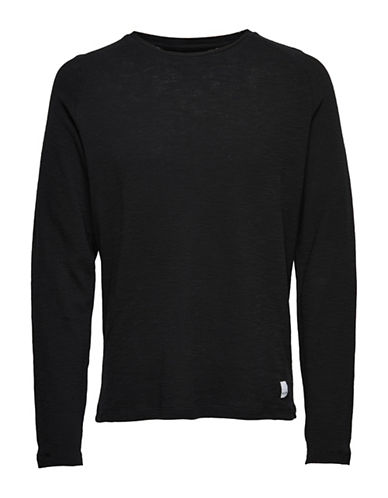 Only And Sons Knitted Cotton Tee-BLACK-X-Large